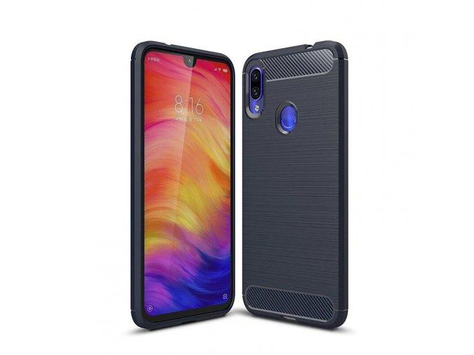 eng pl Carbon Case Flexible Cover TPU Case for Xiaomi Redmi Note 7 blue 47100 1