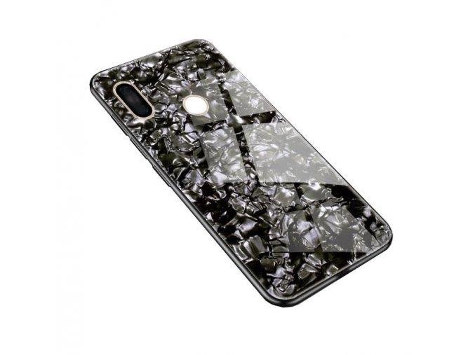 Skleněný luxusní Marble kryt na Xiaomi Note 7 - černý