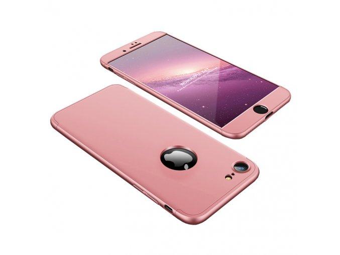 360 oboustranný kryt na iPhone SE 2020 / iPhone 8 / iPhone 7 - růžový (bez výřezu na logo)
