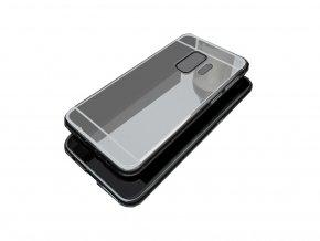 Zrcadlový silikonový kryt na Samsung Galaxy A8 2018 - stříbrný