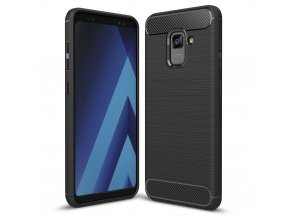 Carbon Case Flexible Cover TPU Case for Samsung Galaxy A8 2018 A530 black