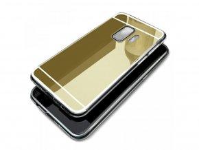 Zrcadlový silikonový kryt na Samsung Galaxy S9 - zlatý