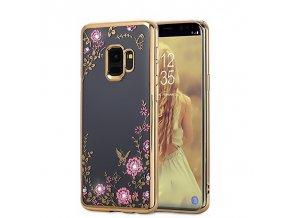 Květinový kryt na Samsung Galaxy S9 zlatý