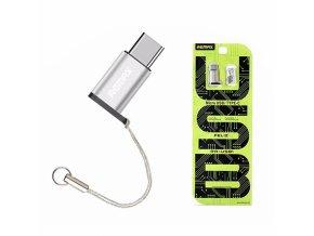 adapter micro usb USB C remax stříbrný