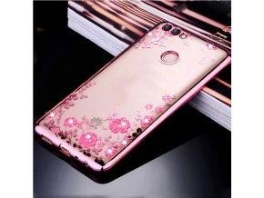 Květinový kryt na Huawei P smart růzový