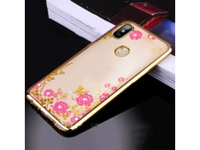 Rozkvetlý TPU kryt na Xiaomi Redmi Note 5 - zlatý