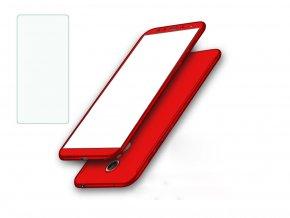 360 oboustranný kryt s TVRZENÝM SKLEM na Huawei P10 Lite - červený