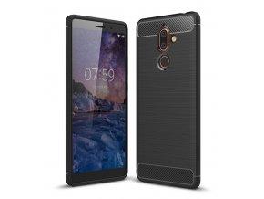Matný carbon styl kryt na Nokia 7 Plus černý titulka