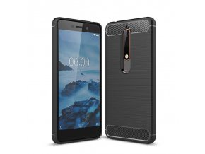 Matný carbon styl kryt na Nokia 6.1 černý tituul