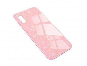 Skleněný luxusní Marble kryt na iPhone XS / iPhone X - růžový