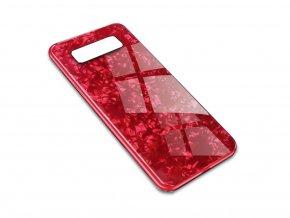 Skleněný luxusní Marble kryt na Samsung Galaxy Note 8 - červený