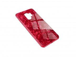 Skleněný luxusní Marble kryt na Samsung Galaxy S9 - červený