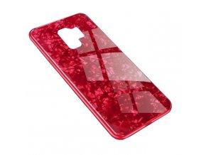 Skleněný luxusní Marble kryt na Samsung Galaxy S9 Plus - červený