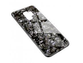 Skleněný luxusní Marble kryt na Samsung Galaxy S9 Plus - černý