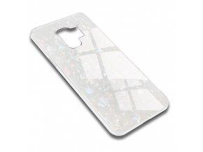 Skleněný luxusní Marble kryt na Samsung Galaxy S9 Plus - bílý