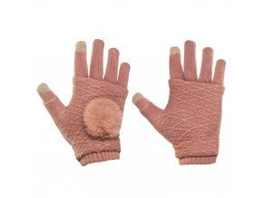 eng pl Touchscreen Winter Gloves 2in1 Striped and Fingerless Gloves Wrist Warmers pink 27078 6