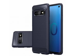 eng pl Carbon Case Flexible Cover TPU Case for Samsung Galaxy S10 blue 47082 1