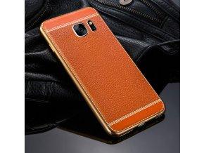 Silikonovo koženkový kryt na Sansung Galaxy S6 edge světle hnědá