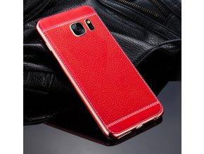 Silikonovo koženkový kryt na Sansung Galaxy S6 edge červený