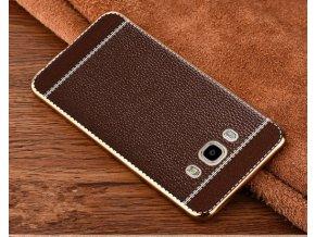 Silikonovo koženkový kryt na Samsung Galaxy J5 hnědý