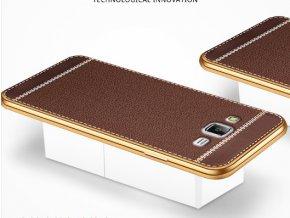 Silikonovo koženkový kryt na Samsung Galaxy J5 světe hnědý