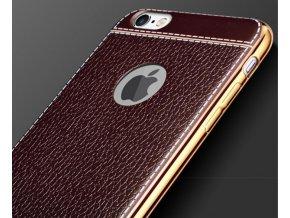 Silikonovo koženkový kryt na iPhone 5 světle hnědý