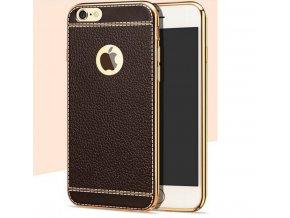 Silikonovo koženkový kryt na iPhone 5 tmavě hnědý