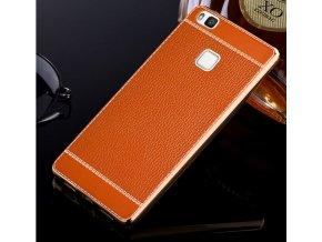 silikonovokoženkové pouzdro na Huawei p9 lite světle hnědé