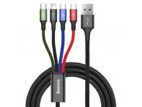 eng pl Baseus Lightning 2x USB Type C micro USB nylon braided cable 3 5A 1 2m black CA1T4 B01 51044 8