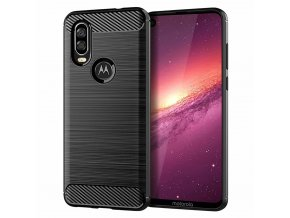 eng pl Carbon Case Flexible Cover TPU Case for Motorola One Vision black 52073 1