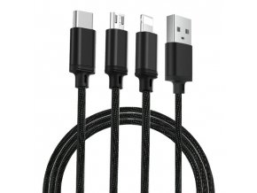 eng pl Remax Agile 3in1 RC 131th Nylon Braided USB micro USB Lightning USB C Cable 2 8A 1m black PD B31th black 54765 1