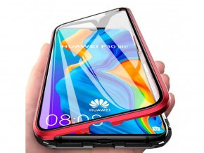 Magnetický oboustranný kryt na Huawei P20 Lite (bez tvrzeného skla) - červený