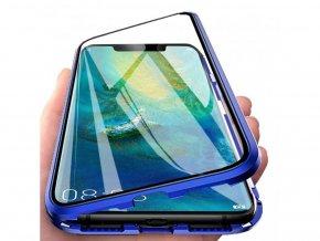 Magnetický oboustranný kryt s tvrzeným sklem na Huawei Mate 20 Pro - modrý