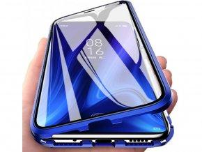 Magnetický oboustranný kryt s tvrzeným sklem na iPhone SE 2020 / iPhone 8 / iPhone 7 - modrý