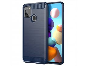 eng pl Carbon Case Flexible Cover TPU Case for Samsung Galaxy A21S blue 61093 1
