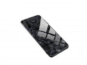 Skleněný luxusní Marble kryt na Huawei P20 - černý
