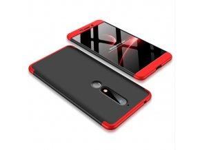 oboustranný kryt 360 na Nokia 6 2018 červenočerný