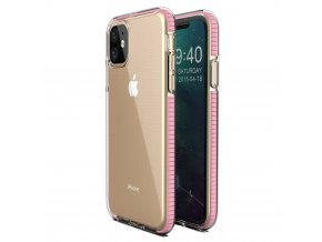 eng pl Spring Case clear TPU gel protective cover with colorful frame for iPhone 11 light pink 59033 1