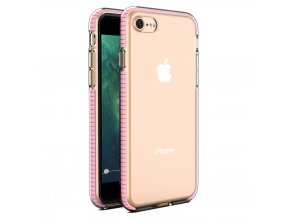 eng pl Spring Case clear TPU gel protective cover with colorful frame for iPhone SE 2020 iPhone 8 iPhone 7 light pink 59028 1