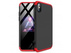 360 oboustranný kryt na iPhone X / XS (bez výřezu na logo) - červenočerný