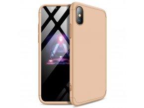 360 oboustranný kryt na iPhone X / XS (bez výřezu na logo) - zlatý