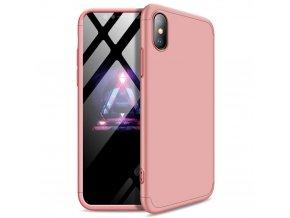 360 oboustranný kryt na iPhone X / XS (bez výřezu na logo) - růžový
