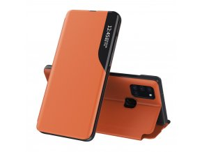 eng pl Eco Leather View Case elegant bookcase type case with kickstand for Samsung Galaxy A21S orange 63608 1