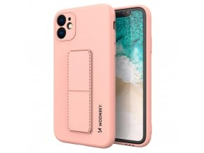 eng pl Wozinsky Kickstand Case flexible silicone cover with a stand iPhone 11 pink 69448 1