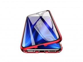 Magnetický oboustranný kryt s tvrzeným sklem na Huawei P20 Pro - červený