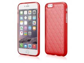 Silikonový prošívaný kryt na iPhone 6 Plus červený