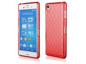 Silikonový prošívaný kryt na Sony Z3 červený