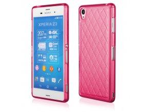 Silikonový prošívaný kryt na Sony Z3 růžový