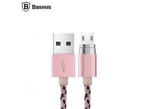 basus magnetický kabel micro usb růžový