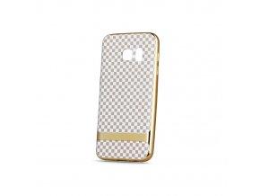 Šachovnicový obal na Huawei Y6 II zlatý